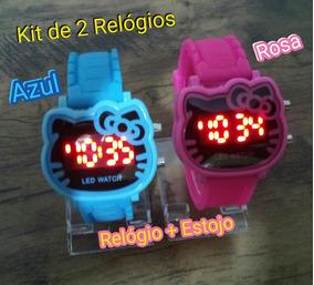 Kit 2 Relógio Hello Kitty Criança & Adolecente Led Digital