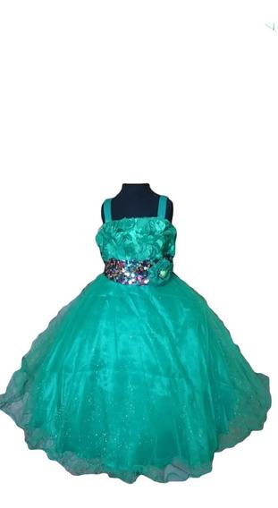Vestido Infantil / Festa Verde Com Paetês Bordados