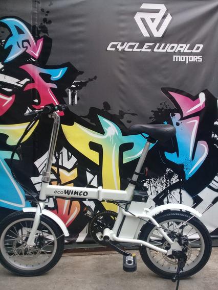 Bicicleta Electrica Sunra Winco 36v Litio Blanca Plegable