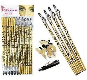 12 Lápis Olhos Delineador Kajal C/ Apontador Make - Preto