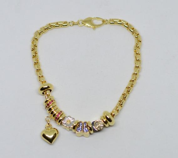 Pulseira Ouro 18k 750 Tipo Pandora Feminina