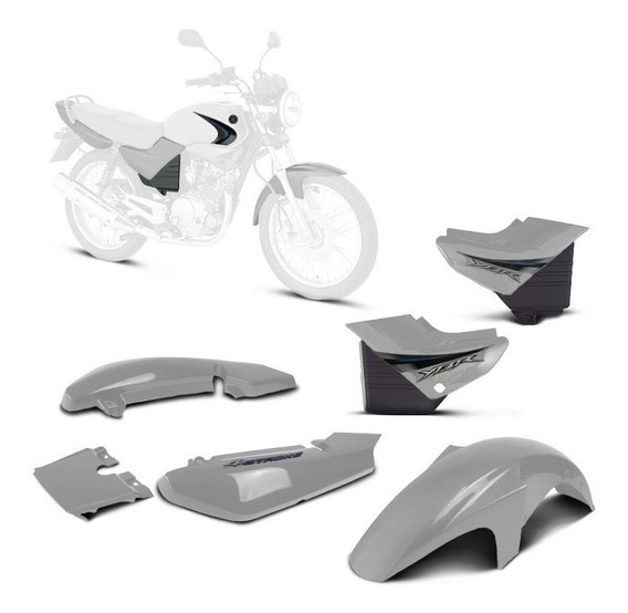 Kit Carenagem Yamaha 2008 Ybr 125 Prata 2008 Adesivadas