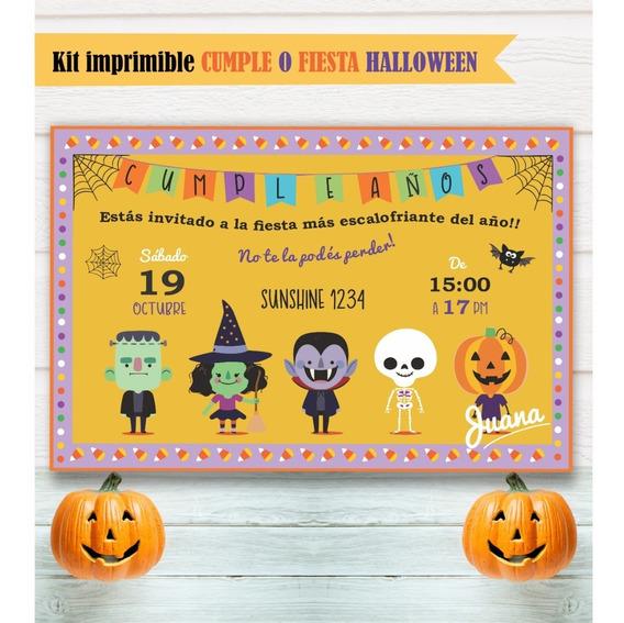 Kit Imprimible Halloween Infantil Niños Cumpleaños