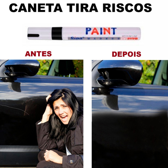 Caneta Retoque Tira Riscos Veículos Tinta Automotiva Preta