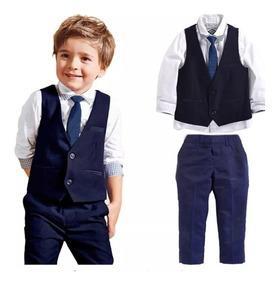 Terno Infantil Conjunto Social Masculino Pajem Camisa Colete