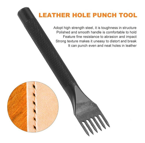 agujero de perforaci/ón de puntas de acero duradero para coser cuero para manualidades de cuero Herramienta de artesan/ía de cuero suave y c/ómoda