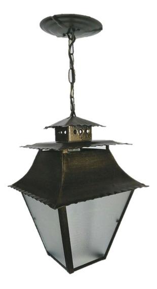 Luminária Pendente Lustre Colonial Grande Preto Pat Ouro Fi