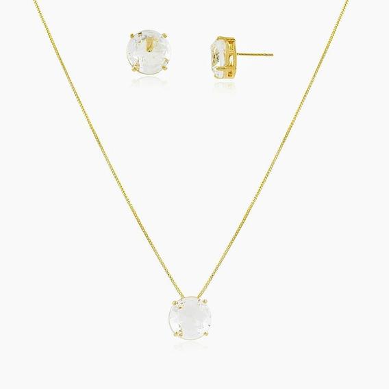 Conjunto Colar E Brincos Pedra Cristal Delicado Ouro 18k