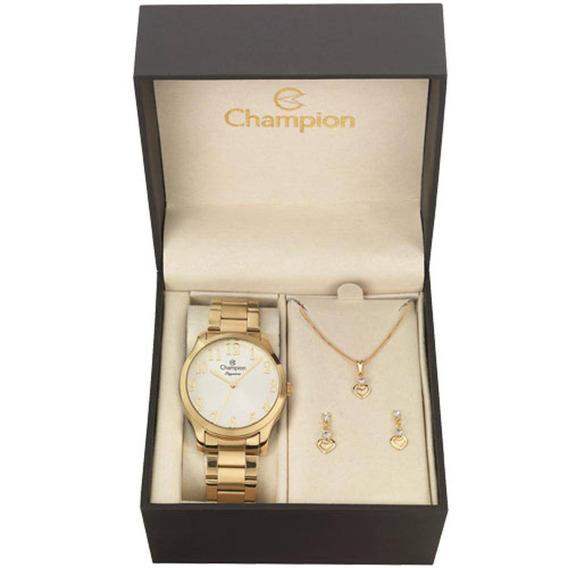 Kit Relógio Champion Feminino Colar E Brincos Cn26019w