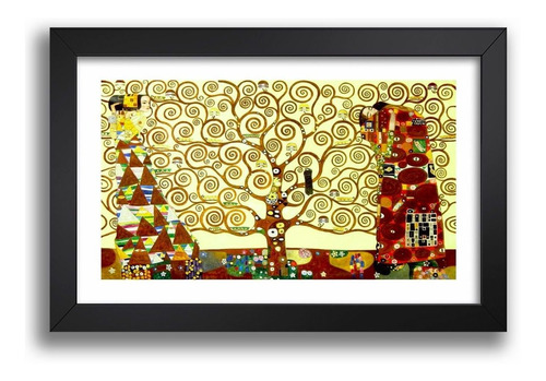 Imagem 1 de 5 de Quadro Arvore Da Vida Gustav Klimt Moldura Decorativo Kv 316