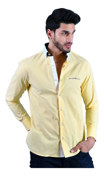 Camisa Porto Blanco Caballero Algodón Amarilla Lisa