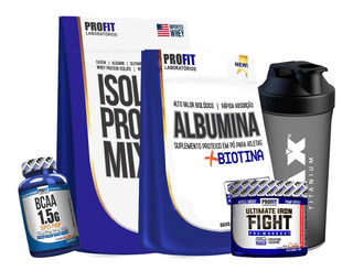 Albumina Com Biotina 1kg +isolate Protein Mix 1,8k + Ultimate 120g + Bcaa 1,5 60 Caps + Brinde - Profit