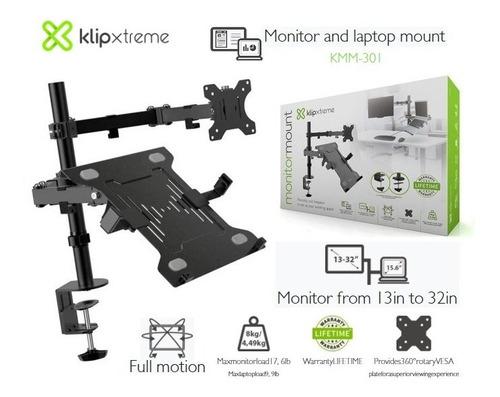 Imagen 1 de 5 de Rack Monitor 13''-32''/8kg Y Laptop 15.6''/4.5kg Klip Xtreme