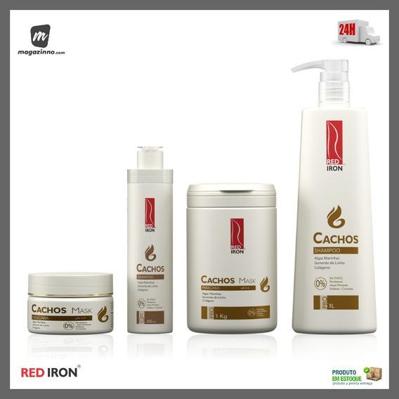 Red Iron Linha Cachos Máscara 1kg + Shampoo 1lt + Home Care