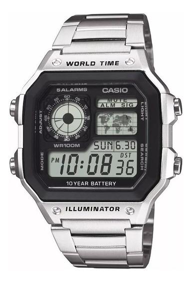 Relogio Prata Luxo Ae 1200whd Aço Crono 5alarm Wr100m