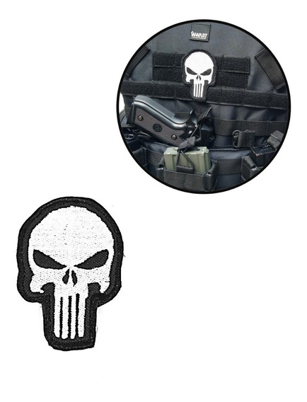 Patch Justiceiro Bordado - Patch Airsoft Velcro Alta Defin.