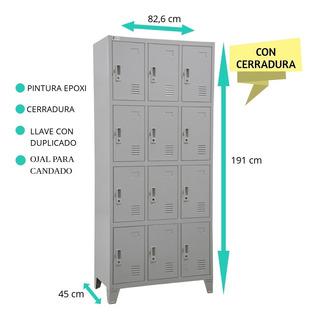 Lockers Bolseros Metálicos 12 Ptas Pintura Epoxi C/cerradura