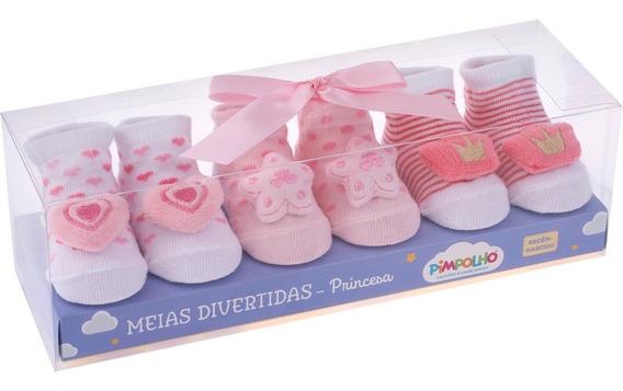 Kit Meias Divertidas Pimpolho Princesas Recem Nascido