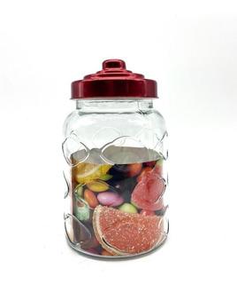 Frasco Vidrio Con Tapa A Rosca De Acero Color Rojo Med 500