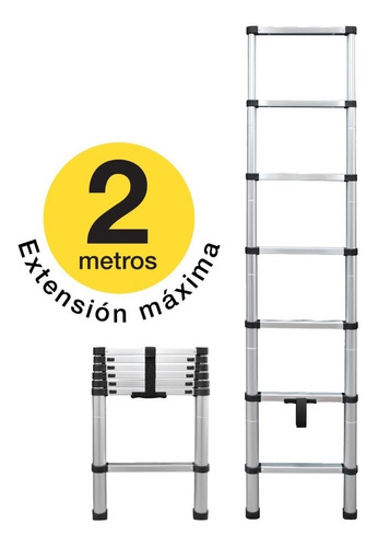 Imagen 1 de 7 de Escalera Telescopica De Aluminio De 2 Metros Portátil 150 K