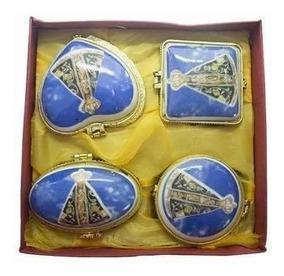4 Caixinha Porta Terço Nossa Senhora Aparecida Louca Azul