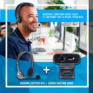 Camara Web Hd Genius Facecam 1000x + Diadema Logitech H111
