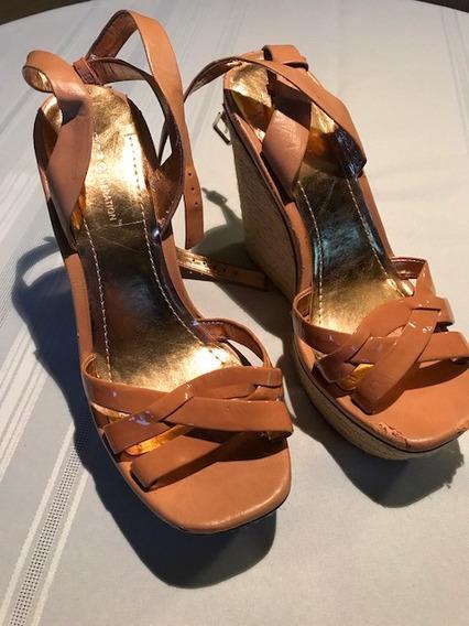 Zapato Mujer Suela Jute Camel Importado Talle 39.5