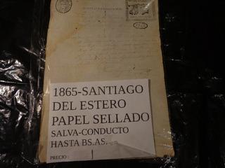 1865- Santiago Del Estero- Papel Sellado- Salva-conducto