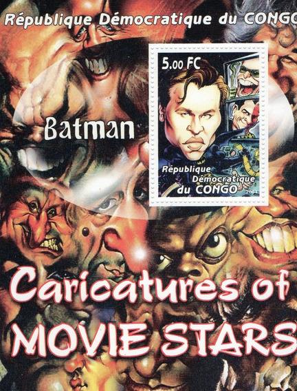 Caricatura De Batman - Val Kilmer - Hoja Estampilla El Congo