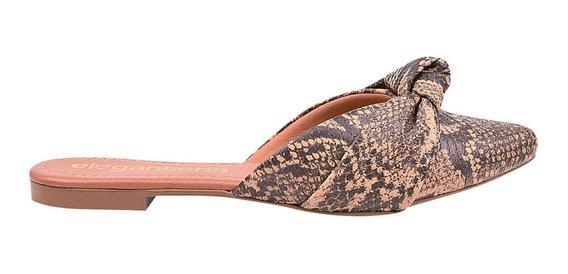 Mule Feminino Rasteirinha Cobra Píton Sapatilha Eleganteria