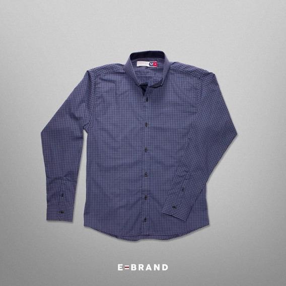 Camisa Cuadros Azul Con Celeste Ebrand Manga Larga