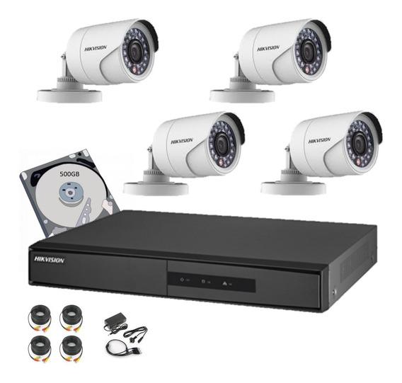 Hikvision Kit Seguridad Dvr 4 Ch + 4 Camaras Ir Hd 720p 1 Mp Interior Exterior Ip 66 + Disco 500gb + Acc Cctv