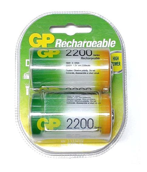 Pilha Recarregável D 2200mah 2 Unidades Gp Original
