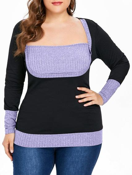 Camiseta Talla Extra Plus Size Cuello Cuadrado Negro Y Gris