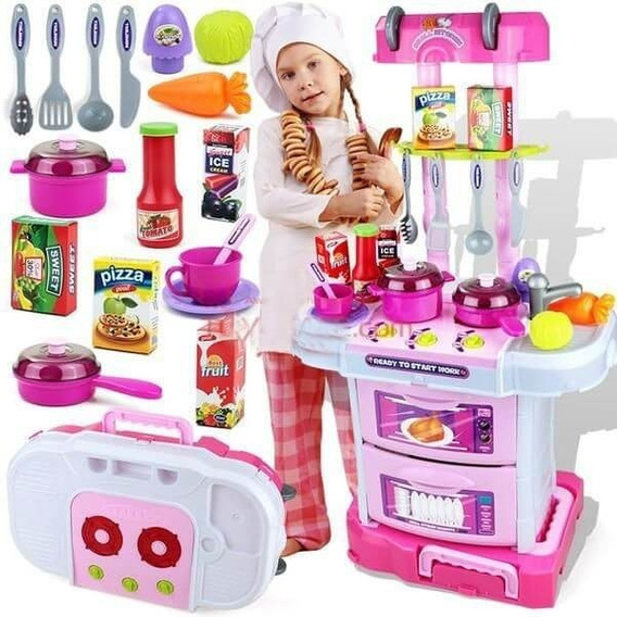 Juguete Cocina Maleta Portátil Para Niñas Con Luces Y Sonido