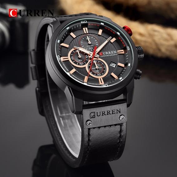 Relógio Curren Preto Com Cronógrafo Funcional