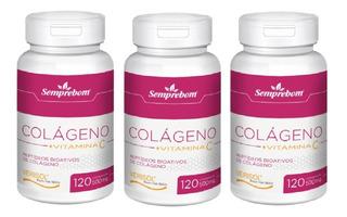 3 Kit Colágeno Verisol + Vitamina C 120 Cápsulas 500mg