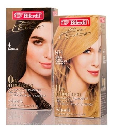 Tintura Coloración Biferdil Biocolor 0% Amoniaco Pack 2 Kits