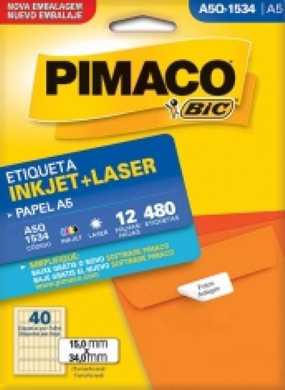Etiqueta Inkjet/laser A5 Q1534 15x34 480 Unidades Pimaco