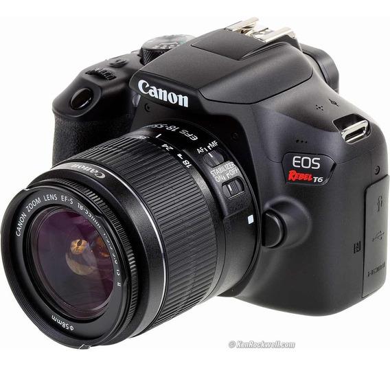 Canon Eos Rebel T6 + Lente 18-55 + Cartão 32 Gb + Flash
