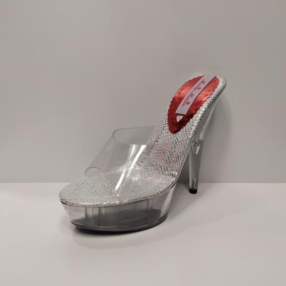 Zapatos De Dama Taco Acrilico Del 37 Al 45