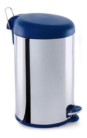 Lixeira Inox Com Pedal 12 Litros Tampa Azul Brinox 3048/263