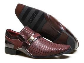 Sapato Social Calvest Em Couro Com Textura E Costura Manual
