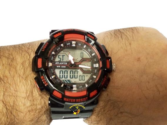 Relógio Masculino Atlantis G5553 Vermelho Esportivo Anadigi