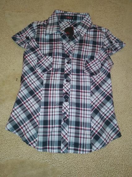 Camisa Manga Corta A Cuadros