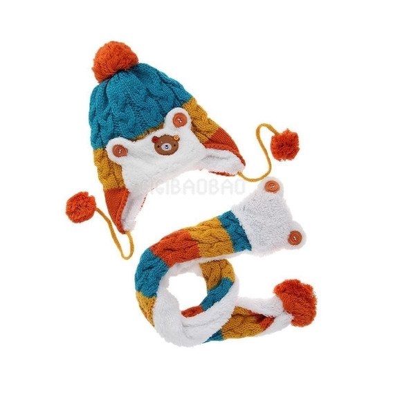 Touca + Cachecol Gorro De Bebê Menino Menina Inverno Frio