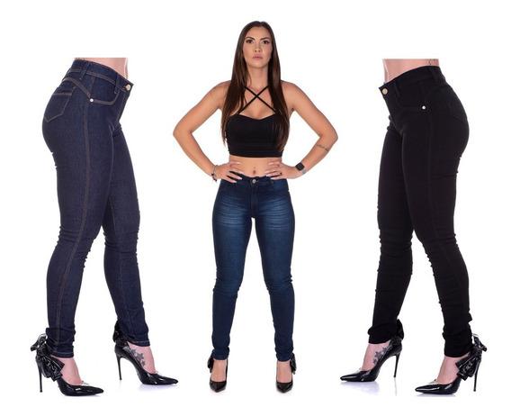 Calças Skinning Feminina Jeans Kit 3 Peças Cós Alto Promoção