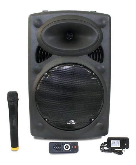 Caixa De Som Amplificada 300w C/ Controle Remoto E Microfone