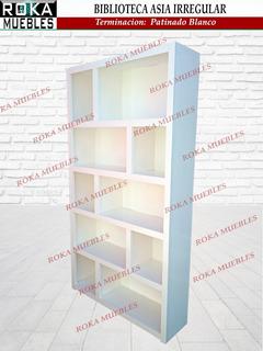 Biblioteca Asia Irregular 1.00x0.25x1.80 Patinado Blanco