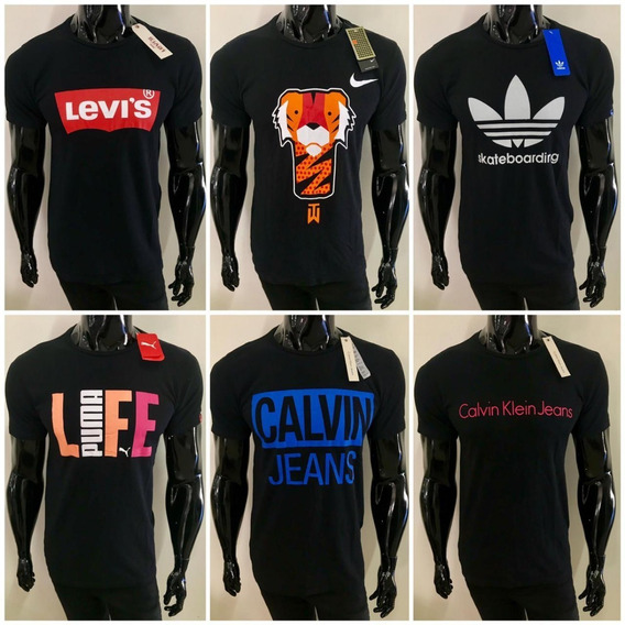 Kit 5 Camisetas Camisas Masculinas Marcas Famosas